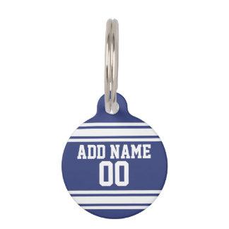 Médaillon Pour Animaux Rayures bleues et blanches avec le nom et le