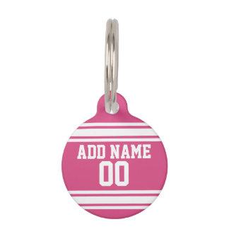 Médaillon Pour Animaux Sports Jersey avec le nom et le nombre - blanc