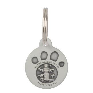 Médaillon Pour Animaux St Francis d'étiquette ronde d'animal familier