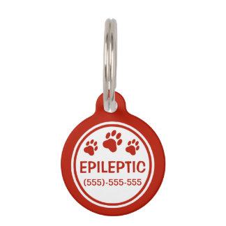 Médaillon Pour Animaux Texte épileptique rouge et blanc avec