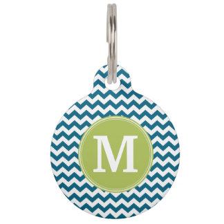 Médaillon Pour Animaux Vert de chaux et monogramme turquoise de motif de