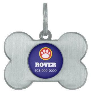 Médaillons Pour Animaux Domestiques Empreinte de patte rouge, jaune, et bleu