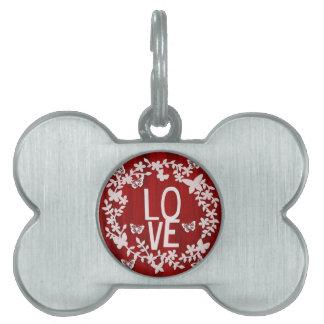 Médaillons Pour Animaux Domestiques Étiquette d'animal familier d'amour d'os