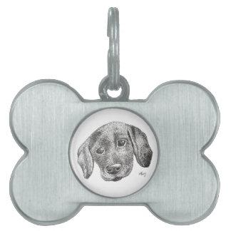 Médaillons Pour Animaux Domestiques Étiquette d'animal familier d'art de chiot