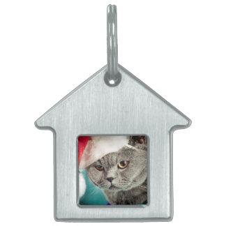 Médaillons Pour Animaux Domestiques Noël gris de chat - chat de Noël - chat de chaton