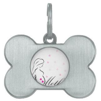 Médaillons Pour Animaux Domestiques Une future mère enceinte avec les coeurs roses