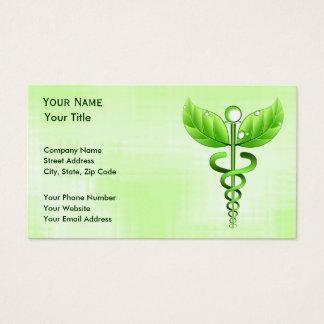 Médecine douce unique de caducée vert cartes de visite