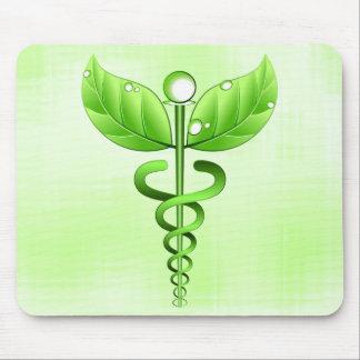 Médecine douce vert clair de caducée médicale tapis de souris