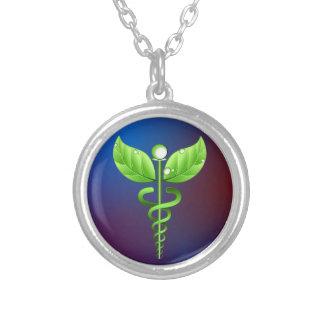 Médecine douce verte de caducée bleu-foncé pendentif rond