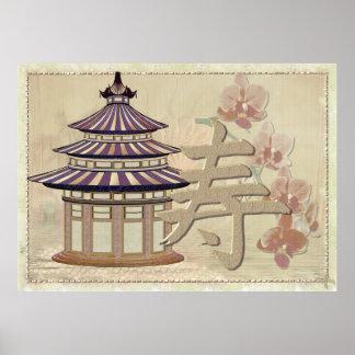 Médias mélangés de rose de pagoda orientaux posters