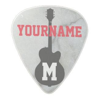 Médiator Acetal guitare-monogramme personnalisé marbré