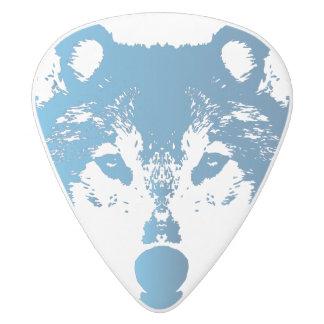 Médiator Delrin Blanc Loup de bleu glacier d'illustration