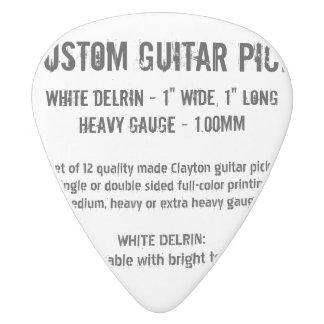 Médiator Delrin Blanc Onglet de guitare fait sur commande - Delrin,