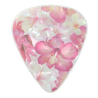 Médiator Perle Celluloid Fleurs roses et blanches tropicales