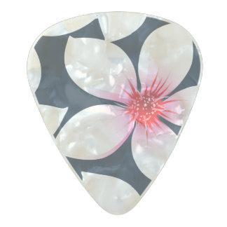 Médiator Perle Celluloid Fleurs tropicales blanches de ketmie