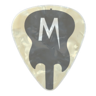 Médiator Perle Celluloid monogramme noir d'électrique-guitare, cool