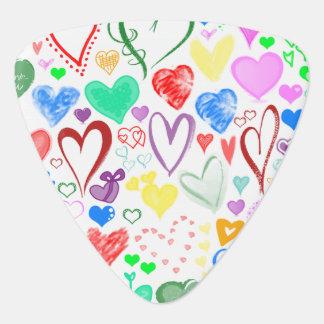 Médiators Amour, Romance, coeurs - vert rose bleu rouge