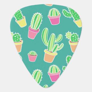 Médiators Cactus au néon d'aquarelle dans le motif de pots