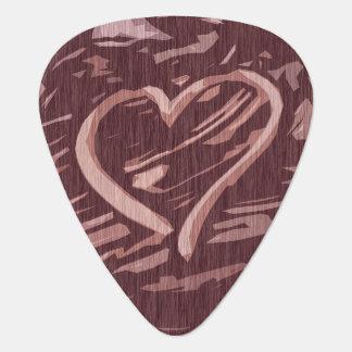 Médiators Coeur en bois de graphique de tache de cerise de