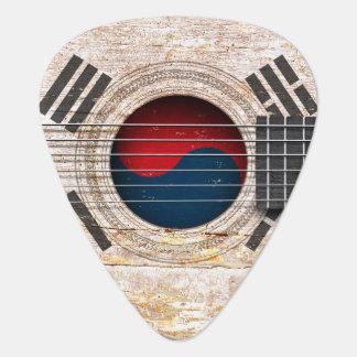 Médiators Drapeau sud-coréen sur la vieille guitare
