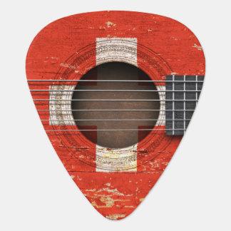 Médiators Drapeau suisse sur la vieille guitare acoustique