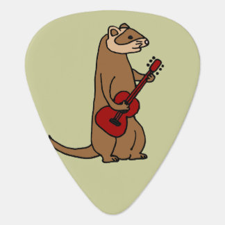 Médiators Furet drôle jouant la guitare rouge