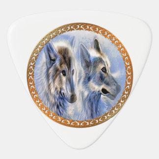 Médiators Loups bleus et blancs de glace recherchant le