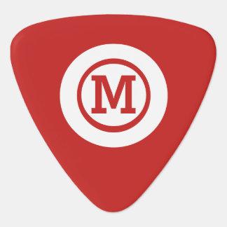 Médiators monogramme blanc rouge solide graphique de cercle