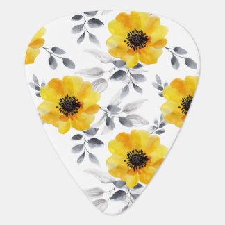 Médiators Motif de fleurs jaune Girly à la mode