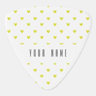Médiators Motif jaune de coeurs de scintillement