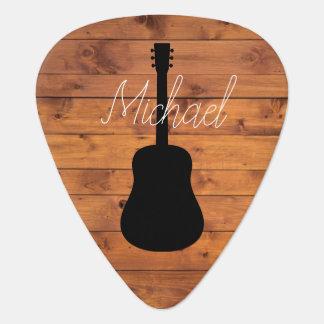 Médiators Nom en bois rustique de calligraphie de guitare