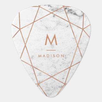 Médiators Or rose géométrique sur le monogramme de marbre du