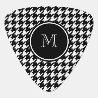 Médiators Pied-de-poule noir et blanc votre monogramme