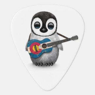 Médiators Pingouin de bébé jouant la guitare de drapeau du