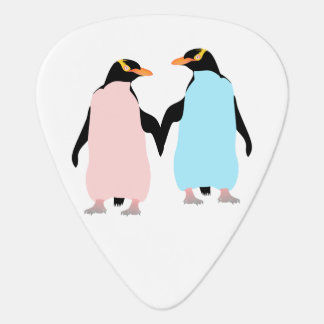 Médiators Pingouins roses et bleus tenant des mains