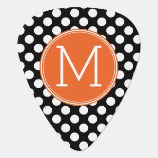 Médiators Pois noir et orange avec le monogramme fait sur