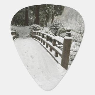 Médiators pont Neige-couvert en lune, jardin japonais
