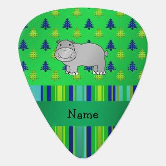 Médiators Rayures vert-bleu personnalisées d'hippopotame