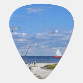 Médiators Vue de plage et d'océan avec le voilier
