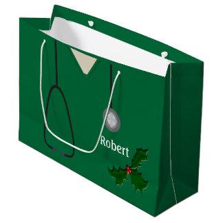 Médical frotte le sac vert de cadeau