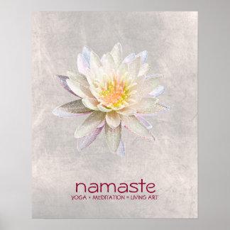Méditation de yoga de Namaste d'aquarelle de fleur Poster