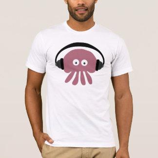 Méduses géniales du DJ avec le T-shirt d'écouteurs