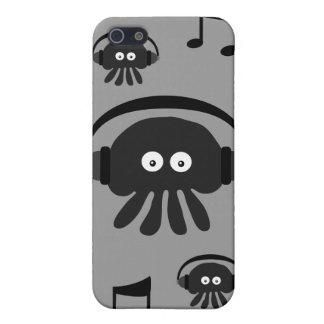 Méduses noires et grises du DJ et notes musicales Étui iPhone 5