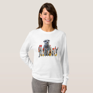 Meerkat avec le logo de Meerkats, longue pièce en T-shirt