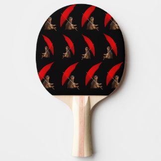 Meerkat drôle sous le motif de parapluie, raquette de ping pong