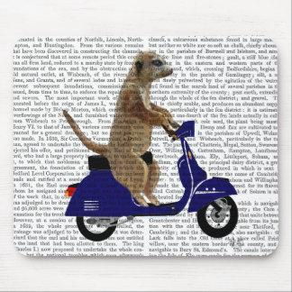 Meerkat sur le vélomoteur bleu-foncé tapis de souris