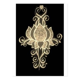 mehndi floral d'or carte postale