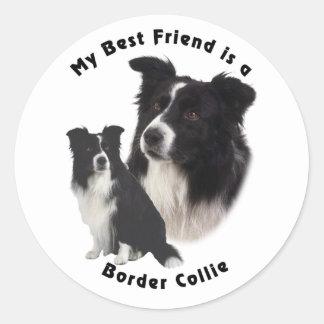 Meilleur ami border collie adhésifs ronds