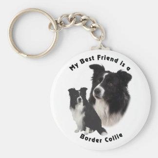 Meilleur ami border collie porte-clé rond