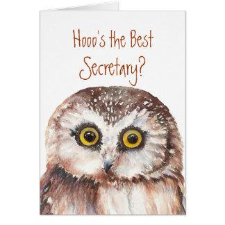 Meilleur secrétaire drôle ? Humour sage de hibou Carte De Vœux